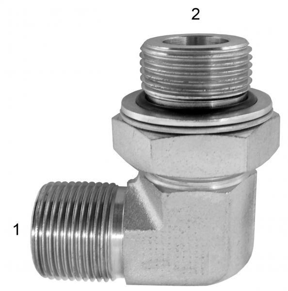 Metric Adapters -  - Male BSPP to Male BSPP Adj. 90° (Forged Steel)