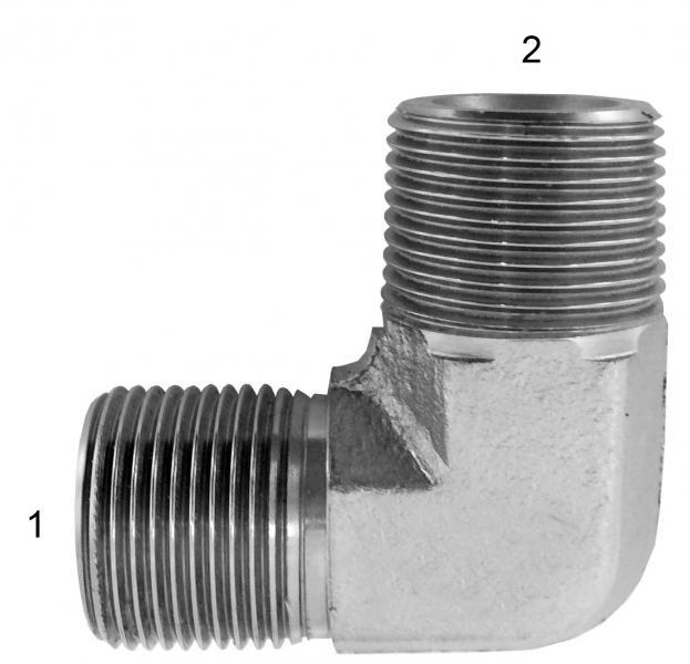 Metric Adapters -  - Male BSPP to Male BSPT 90° (Forged Steel)