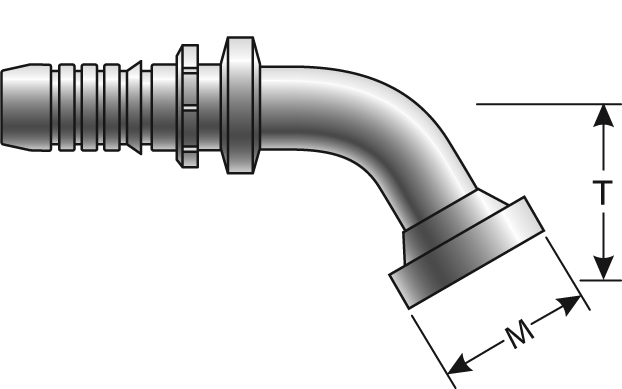 GSP Couplings - Gates - Female Flat-Face O-Ring Swivel - 60° Bent Tube